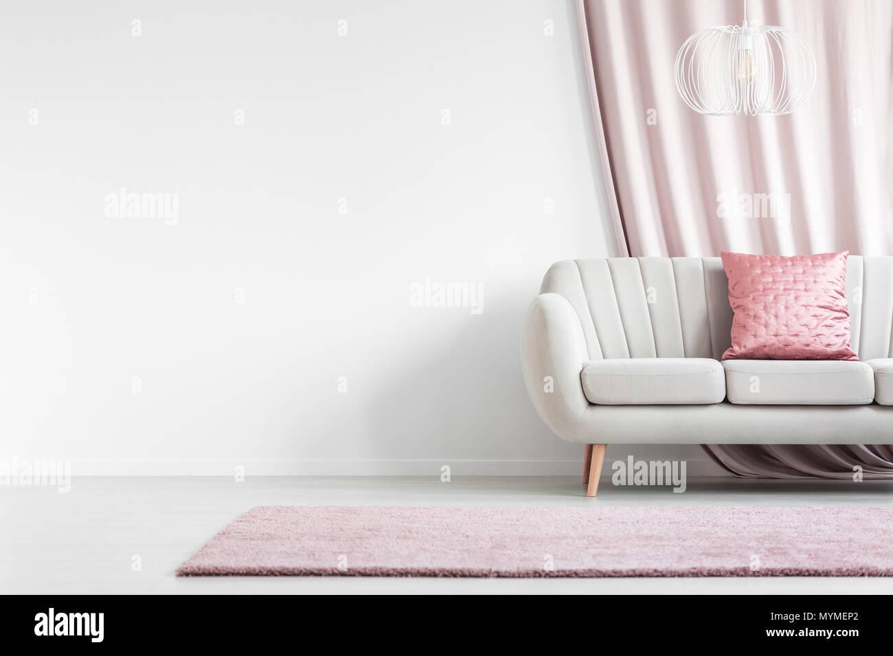 Tappeto Da Salotto Rosa : Tappeto rosa nella parte anteriore del divano bianco con cuscino