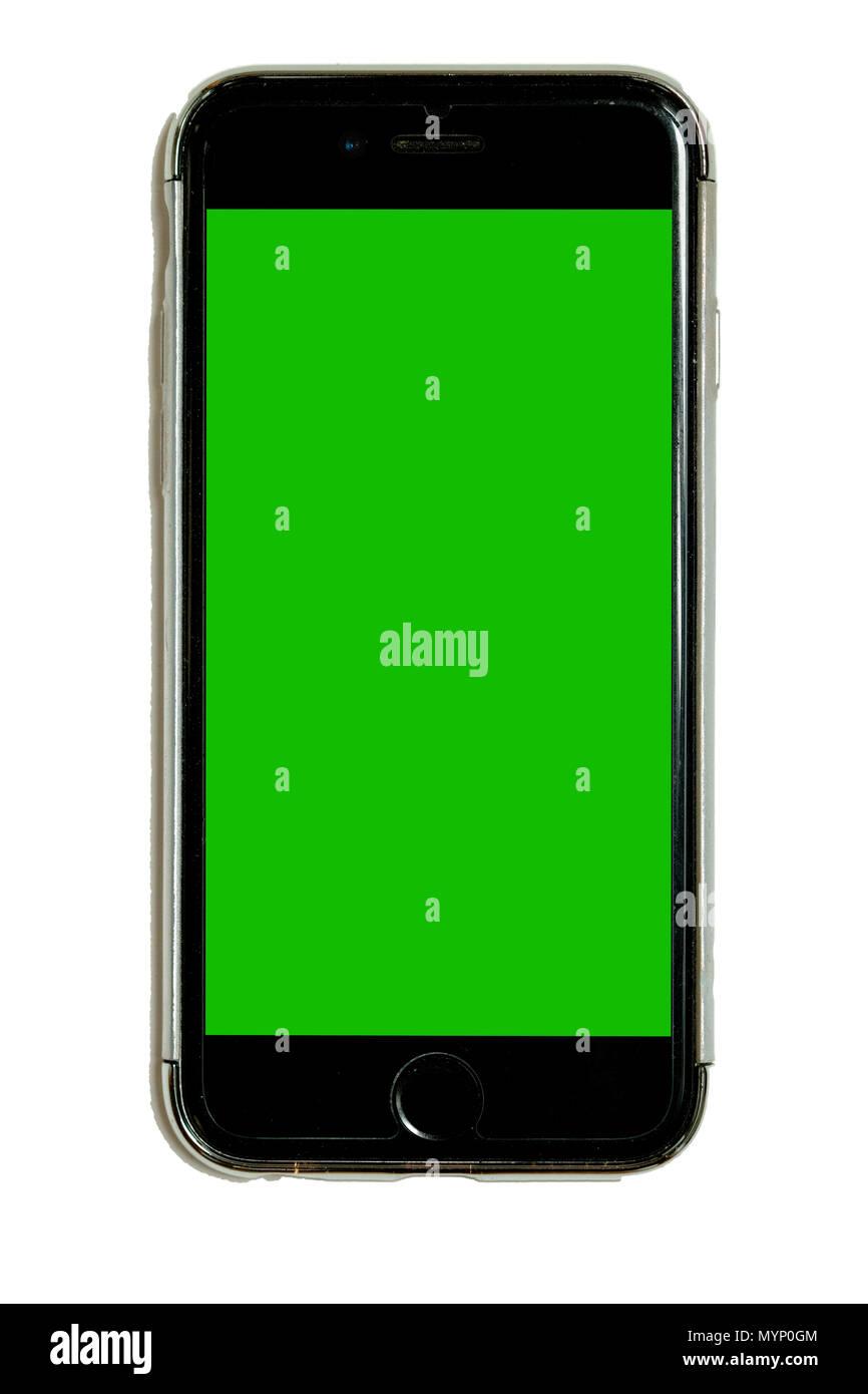 Smart Phone In Custodia Protettiva Con Verde Chroma Key Touchscreen