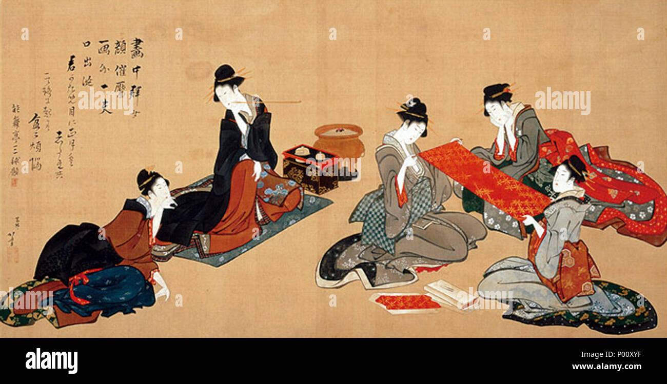 . Inglese: Cinque bellezze, da Hokusai, Hosomi Museum, Kyoto, Kyoto, Giappone 日本語: 五美人図 葛飾北斎筆 . C19 9 Cinque bellezze da Hokusai (Hosomi Museo) Immagini Stock