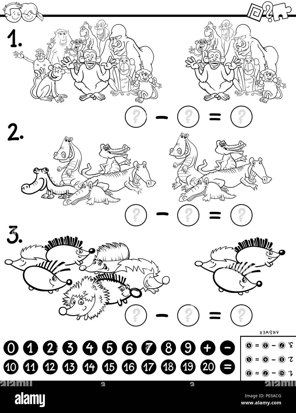 Bianco E Nero Cartoon Illustrazione Di Educativo Sottrazione