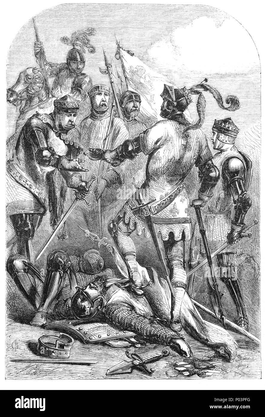 La battaglia di Poitiers fu combattuta il 19 settembre 1356 in Nouaillé, vicino alla città di Poitiers in Aquitania, Francia occidentale. Un esercito, molti di essi veterani di Crécy, guidato da Edward, il Principe Nero, sconfitto un grande francese e allied esercito guidato dal Re Giovanni II di Francia, portando alla cattura del re suo figlio e gran parte della nobiltà francese. È stata la seconda grande vittoria inglese della fase edoardiana dei cento anni di guerra. Poitiers fu combattuta per dieci anni dopo la battaglia di Crécy (la prima grande vittoria), e circa la metà di un secolo prima che il terzo, la battaglia di Agincourt (1415). Immagini Stock