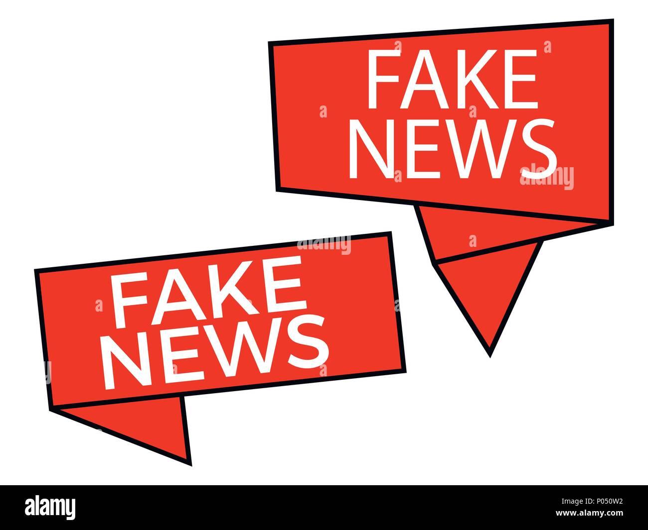 Fake news, richiamo isolato su sfondo bianco. Falso il giornalismo. Illustrazione Vettoriale Immagini Stock