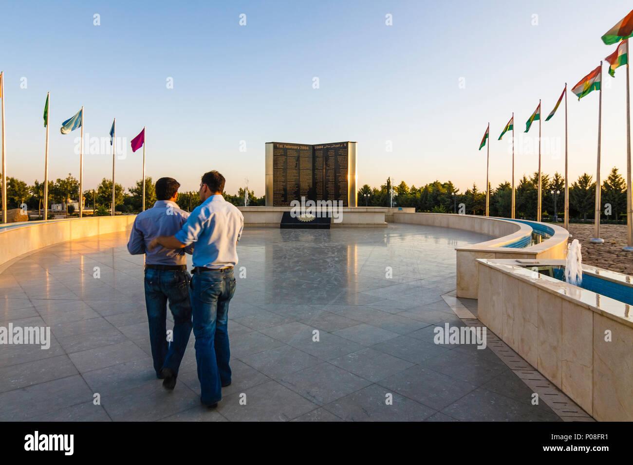 Memoriale dei martiri a Sami Abdul Rahman Park di 98 vittime del 2004 Attentati bomba rivendicato dal gruppo islamista Ansar al-Sunna durante la celebra Immagini Stock