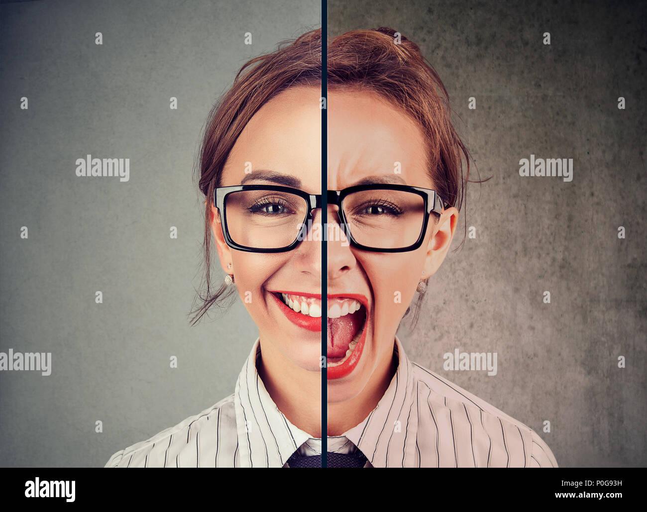 Disturbo Bipolare concetto. Giovane donna con doppio fronte di espressione isolato su sfondo grigio Immagini Stock
