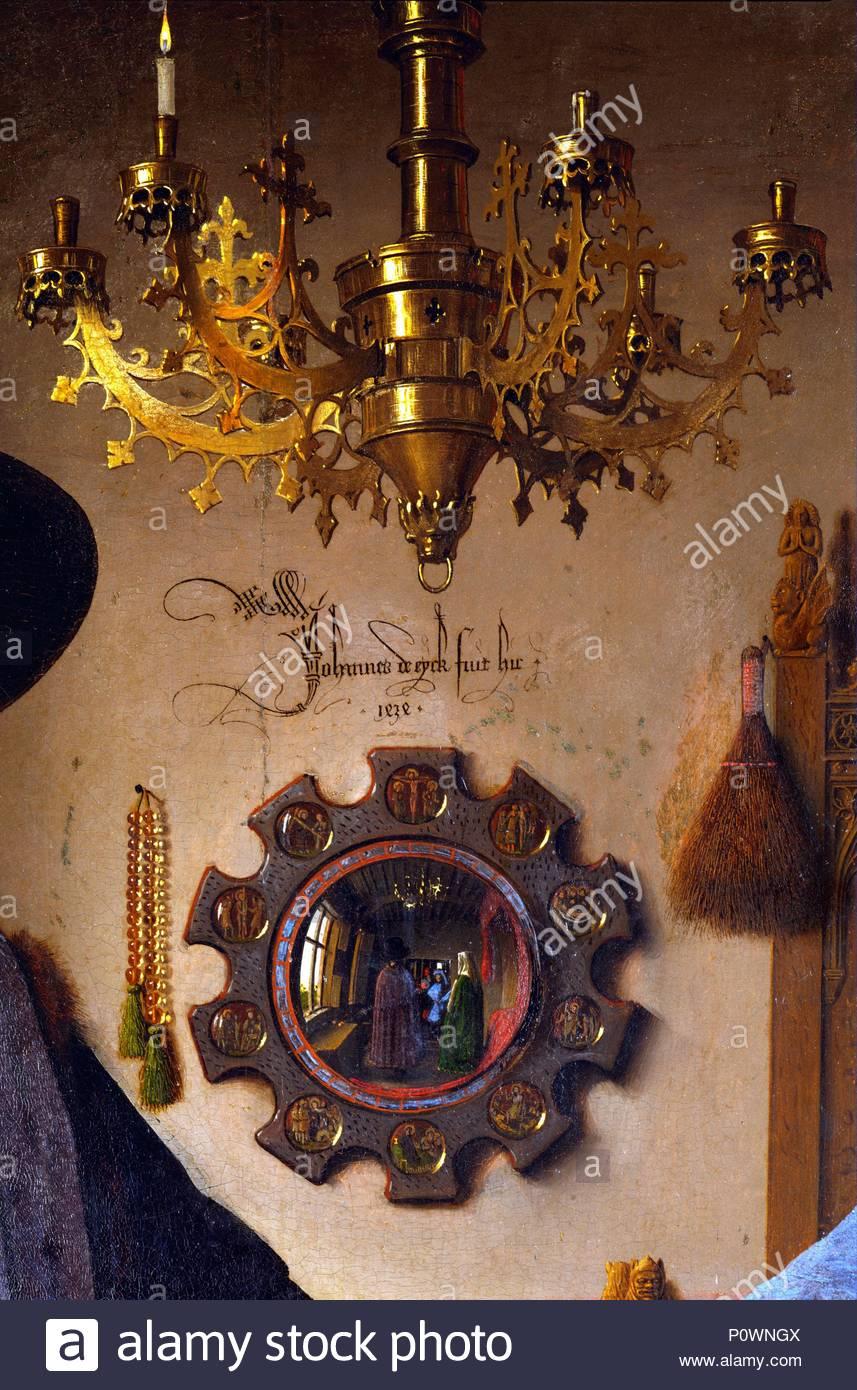 """Foto di nozze di Giovanni Arnolfini e Giovanna Cenami. Dettaglio: lo specchio che mostra testimoni del matrimonio, eventualmente Jan van Eyck, la cui firma è sopra lo specchio: """" Jan de Eyck Hic fuit"""". 1434 Oak,82 x 60 cm NG 168 per la complessiva vedere 40-03-01 / 6. Autore: Jan van Eyck (1390-1441). Posizione: National Gallery di Londra, Gran Bretagna. Immagini Stock"""
