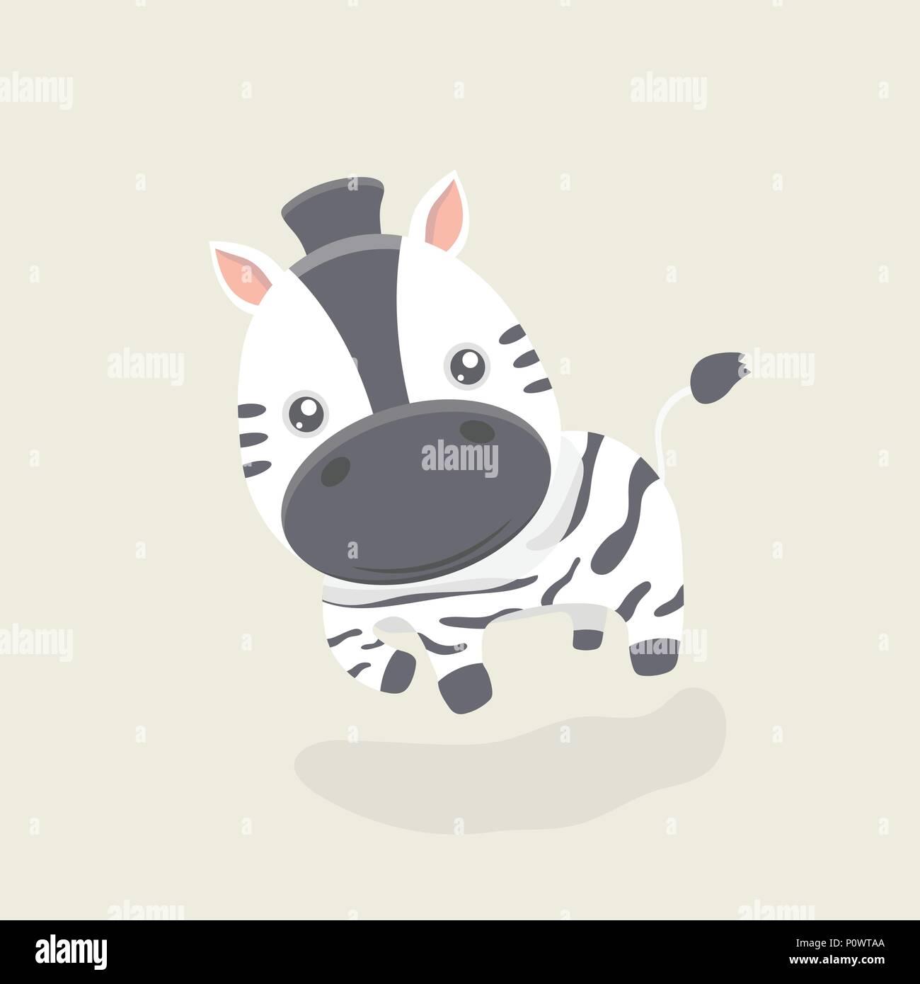 Vector cartoni animati della po divertente zebra su sfondo color