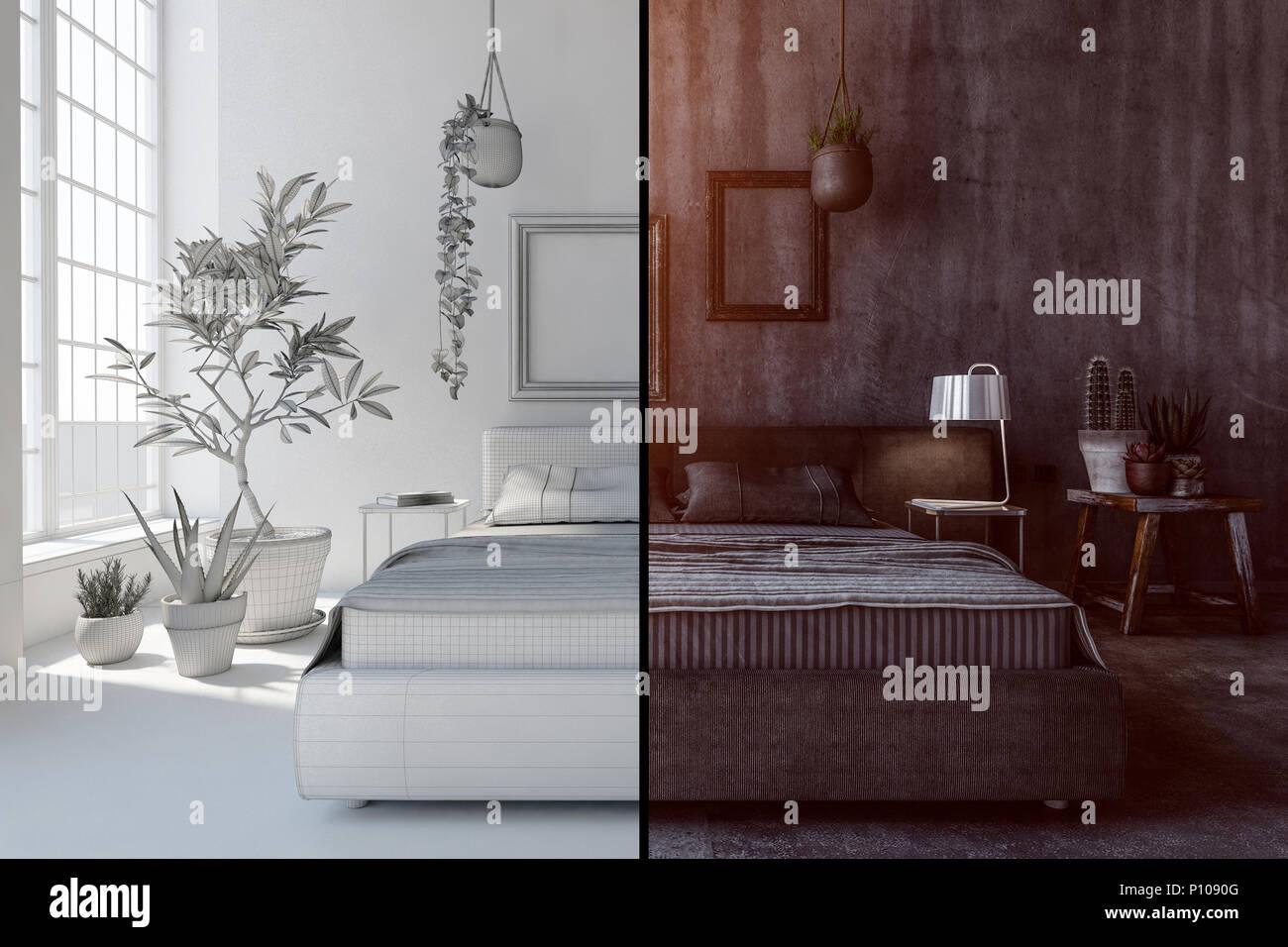 Pianta Camera Da Letto Matrimoniale : Camera da letto concetto interno con chiaro e scuro varietà di