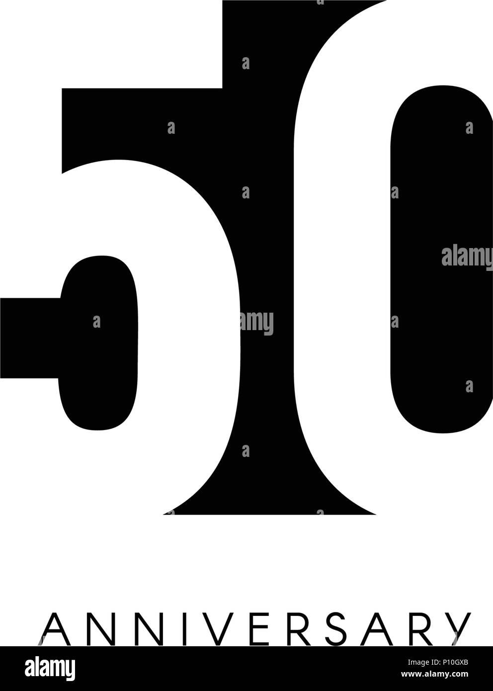 Cinquanta Anniversario Logo Minimalista Cinquant Anni