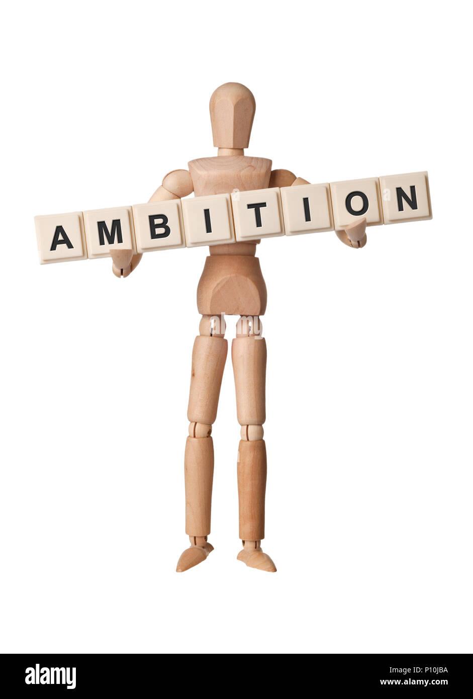 Statuetta di legno con la parola ambizione isolati su sfondo bianco Immagini Stock