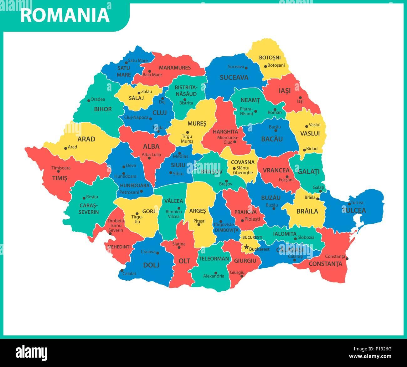 Cartina Geografica Politica Della Romania.La Mappa Dettagliata Della Romania Con Le Regioni O Gli Stati E Le Citta Capitali Divisione Amministrativa Immagine E Vettoriale Alamy
