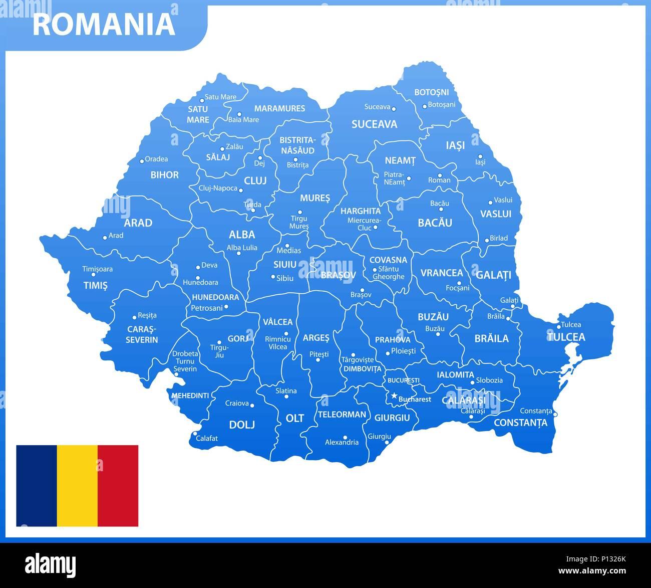 Cartina Dettagliata Romania.La Mappa Dettagliata Della Romania Con Le Regioni O Gli Stati E Le Citta Capitali Divisione Amministrativa Immagine E Vettoriale Alamy