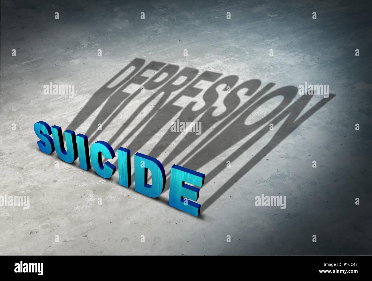 Suicidio e depressione segni premonitori di disperazione come una malattia mentale concetto di salute come una soluzione permanente per un temporaneo stato di mente. Immagini Stock