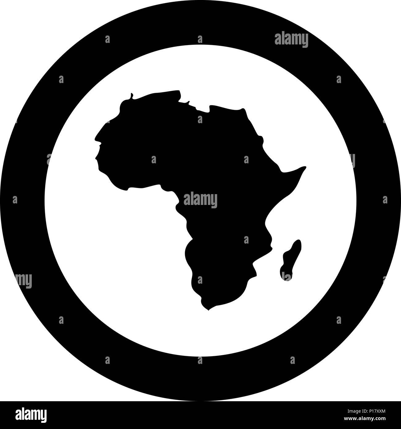 Cartina Dell Africa In Bianco E Nero.Mappa Di Africa Icona Di Colore Nero In Cerchio Intorno Vettore I Immagine E Vettoriale Alamy