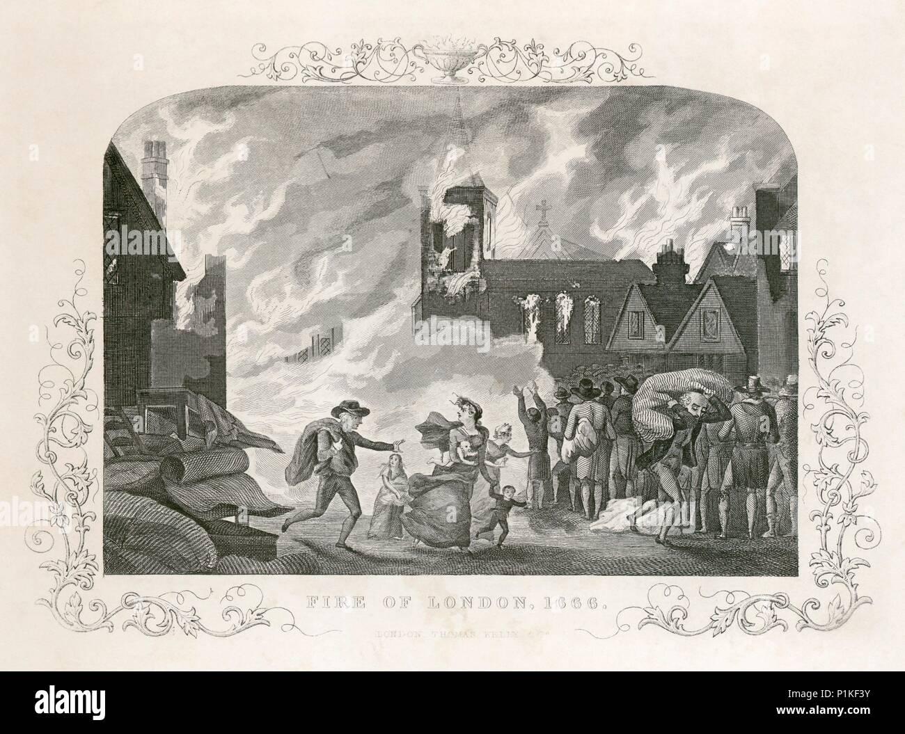 Grande Incendio di Londra, 1666 (c del secolo XIX secolo). Dal Mayson Beeton collezione. Immagini Stock
