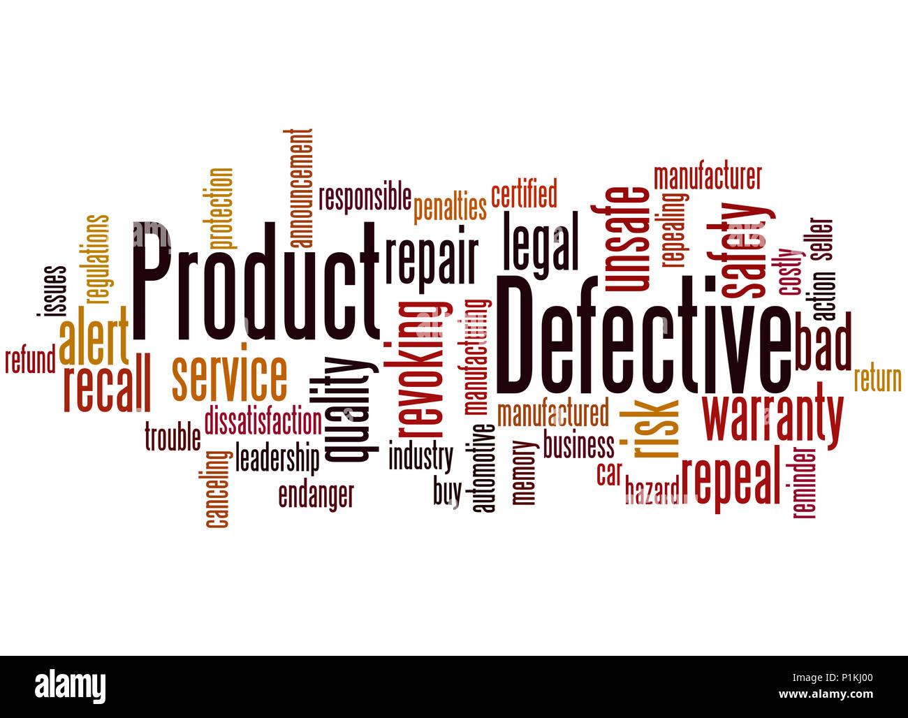 Prodotto difettoso, word cloud concetto su sfondo bianco. Immagini Stock