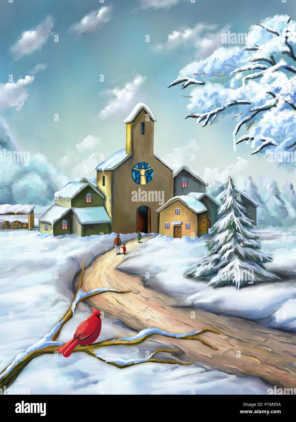 Paesaggi Di Natale.Piccolo Borgo In Un Innevato Paesaggio Di Natale