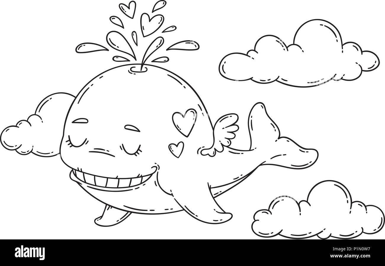 Una Balena Con Le Ali Nel Cielo Con Il Cuore Illustrazione Di
