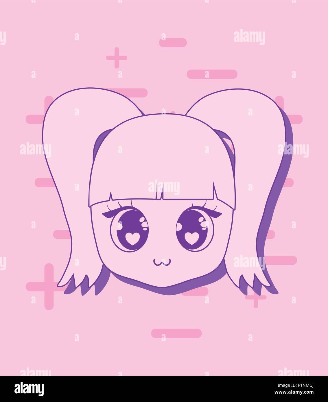Kawaii Girl Face Icona Su Sfondo Rosa E Coloratissima Linea Design
