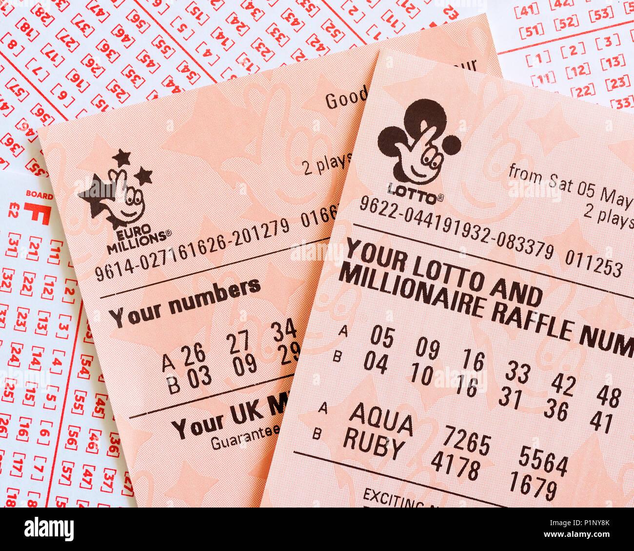 Lotteria nazionale biglietto, REGNO UNITO Foto Stock