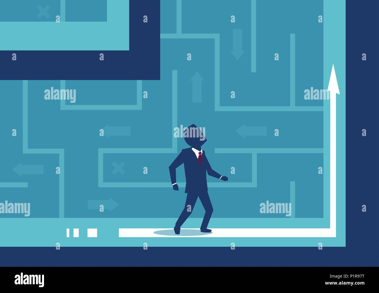 Immagine vettoriale di imprenditore confuso con direzione essendo perso nel labirinto. Immagini Stock