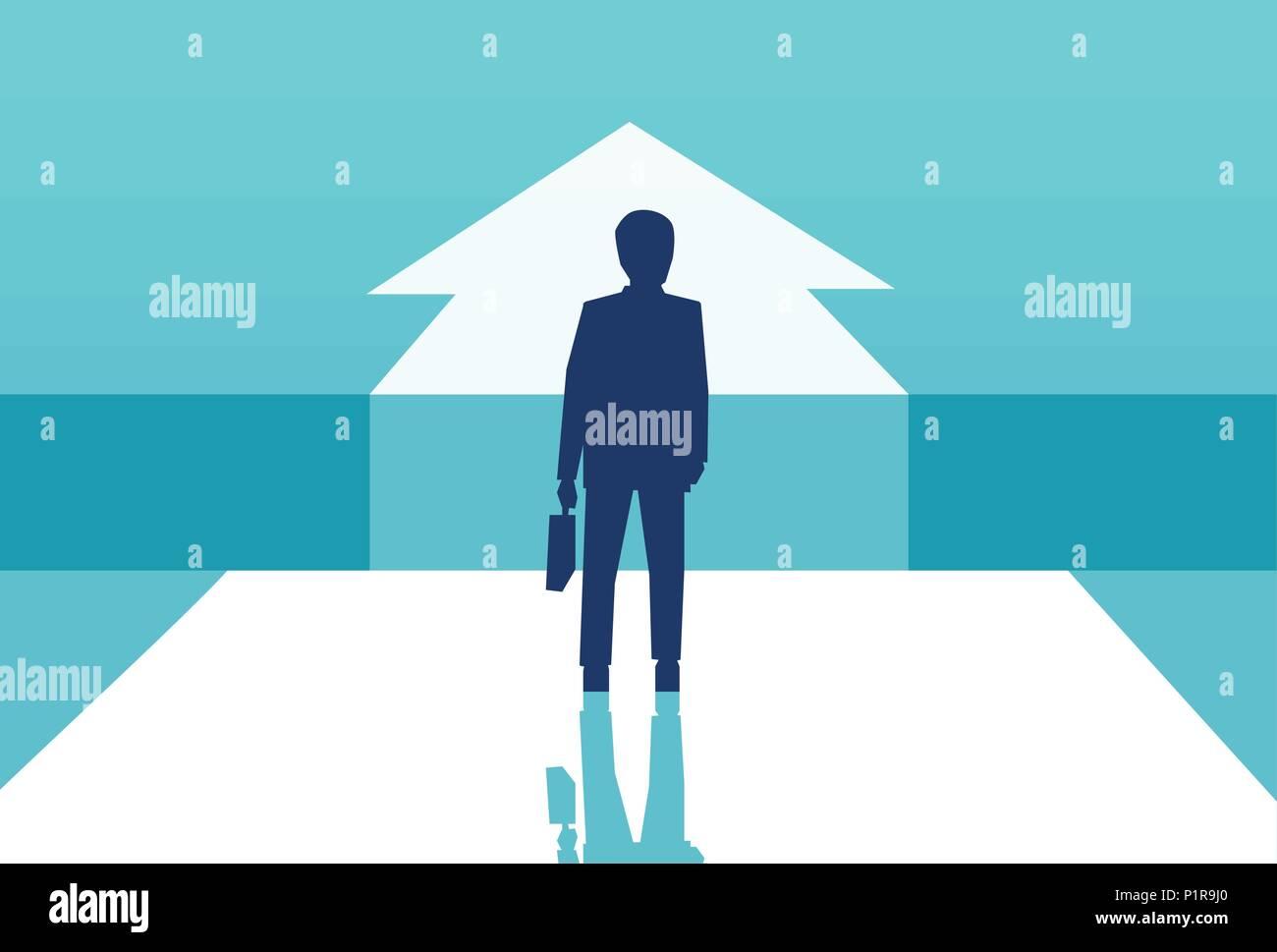 Concetto di vettore di immagine di imprenditore silhouette in piedi nella parte anteriore della freccia scelta di carriera futura. Immagini Stock