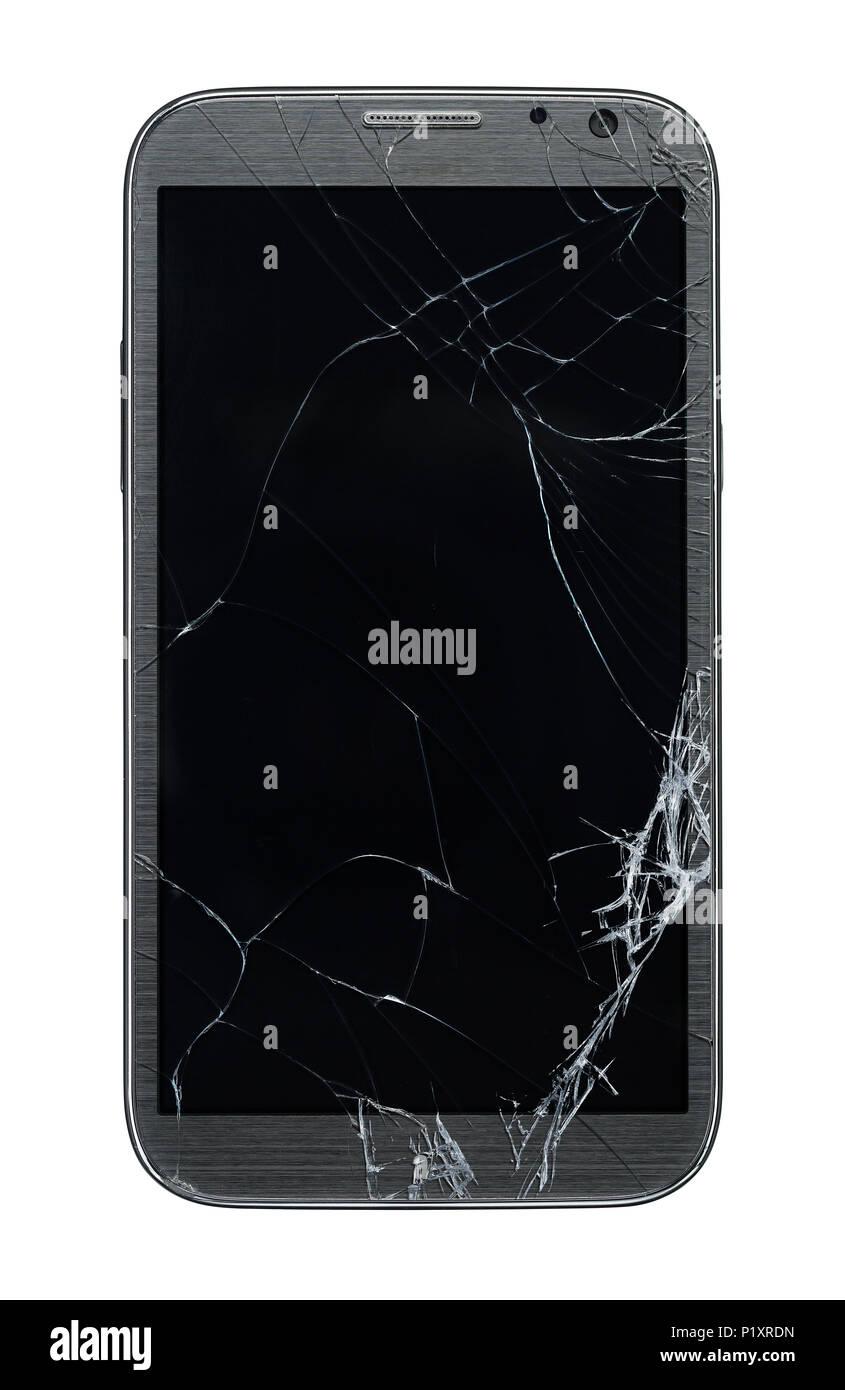 Rotto Il Telefono Cellulare Isolato Su Sfondo Bianco Foto Immagine