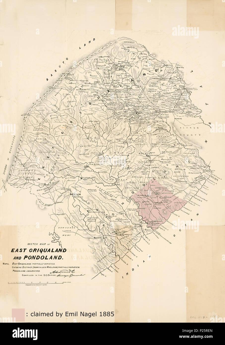 """. Inglese: """"mappa topografica di East Griqualand Pondoland e dal fiume Umtentwana al fiume Kogha sulla costa dell'Oceano Indiano e ai confini con la divisione di Wodehouse e Basutoland nell' entroterra. La mappa mostra la città, stazioni di missione, la posizione del clan africani, kraals, fiumi e montagne.' (descrizione dell'Università di Città del Capo) Successivamente la zona di concessione è stata marcata, che ha negoziato Emil Nagel 1885 con il Pondo chiefs Umhlangaso Umquikela e. Deutsch: 'Topographische Karte von East Griqualand und Pondoland vom Umtentwana-Fluss bis zum Kogha-Fluss un Immagini Stock"""