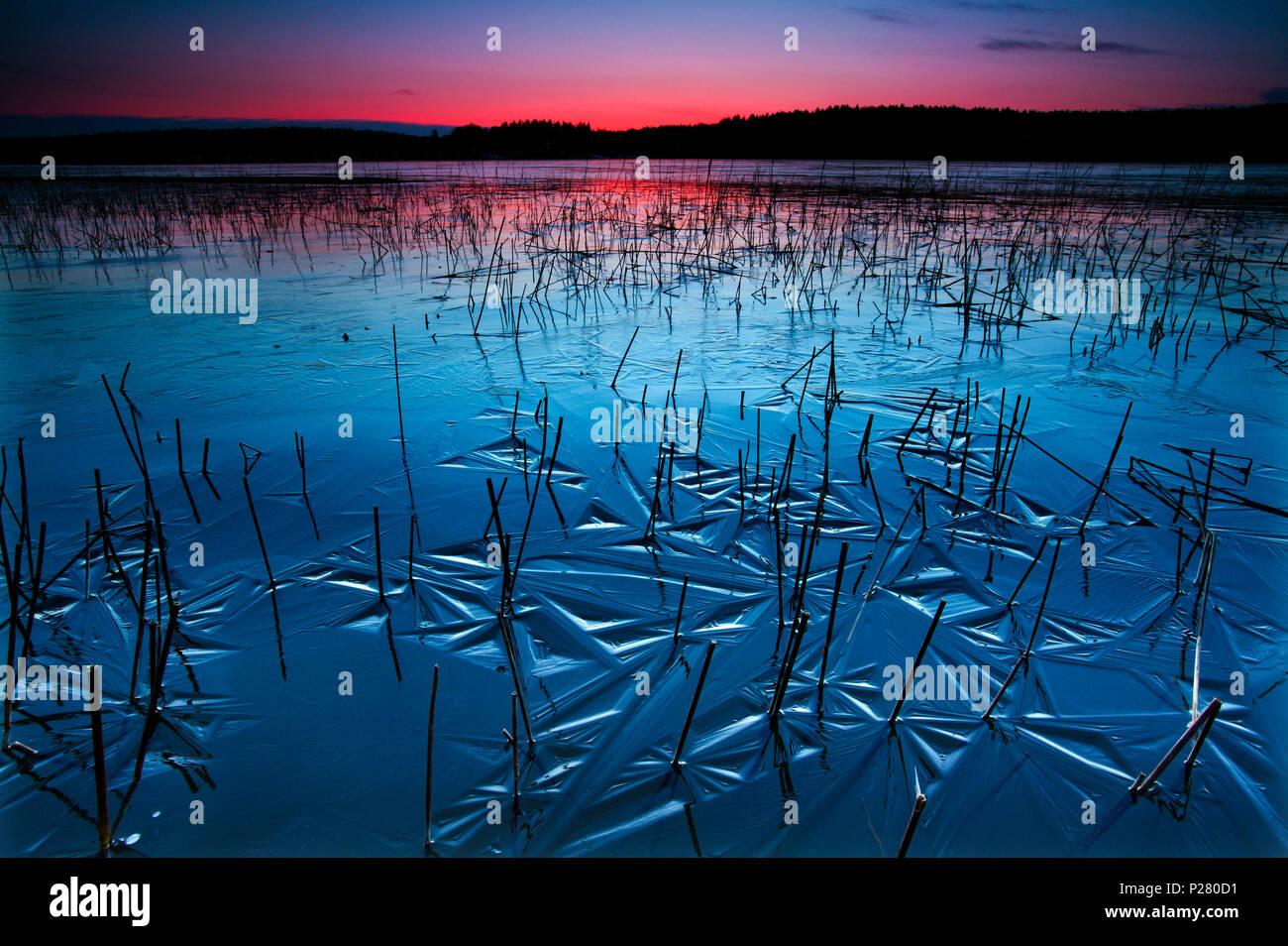 Bella serata invernale dal lago Vansjø, Østfold, Norvegia. Immagini Stock