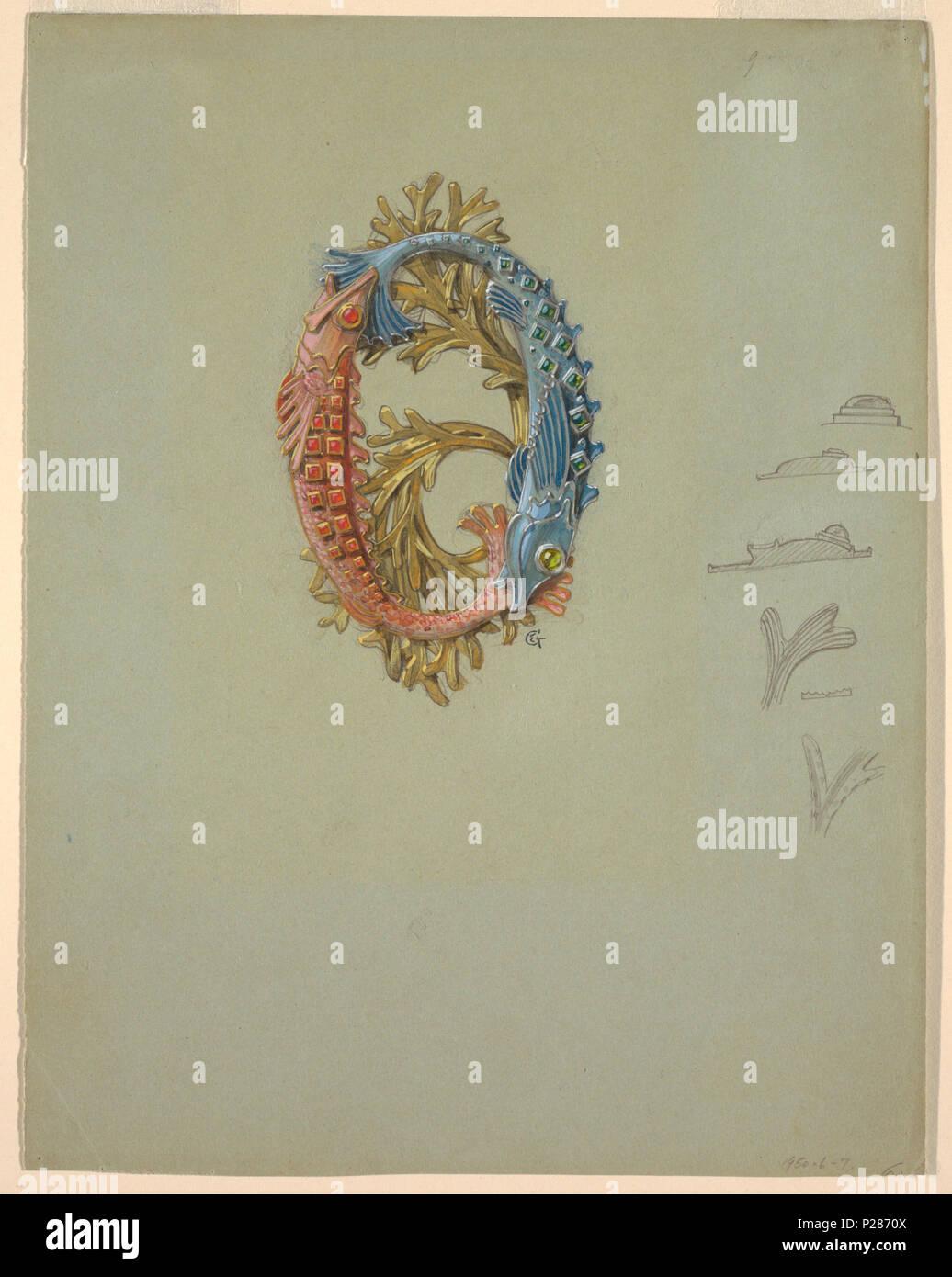 Inglese Il Disegno Di Una Fibbia Con Due Pesci E Alghe 1900