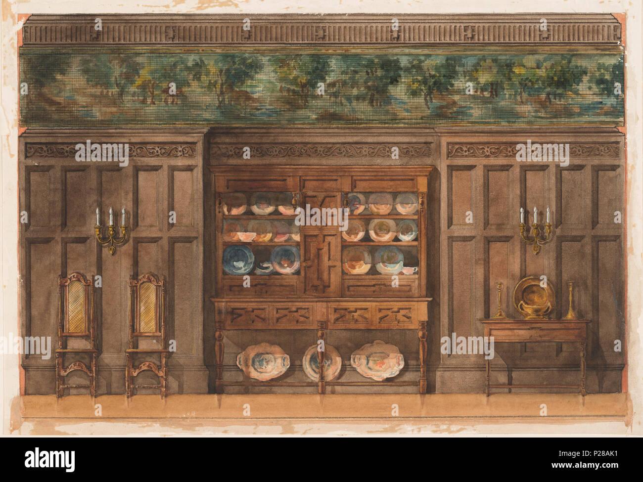 Armadio A Muro In Inglese.Inglese Disegno Vista In Alzato Laterale Di Una Sala Da Pranzo