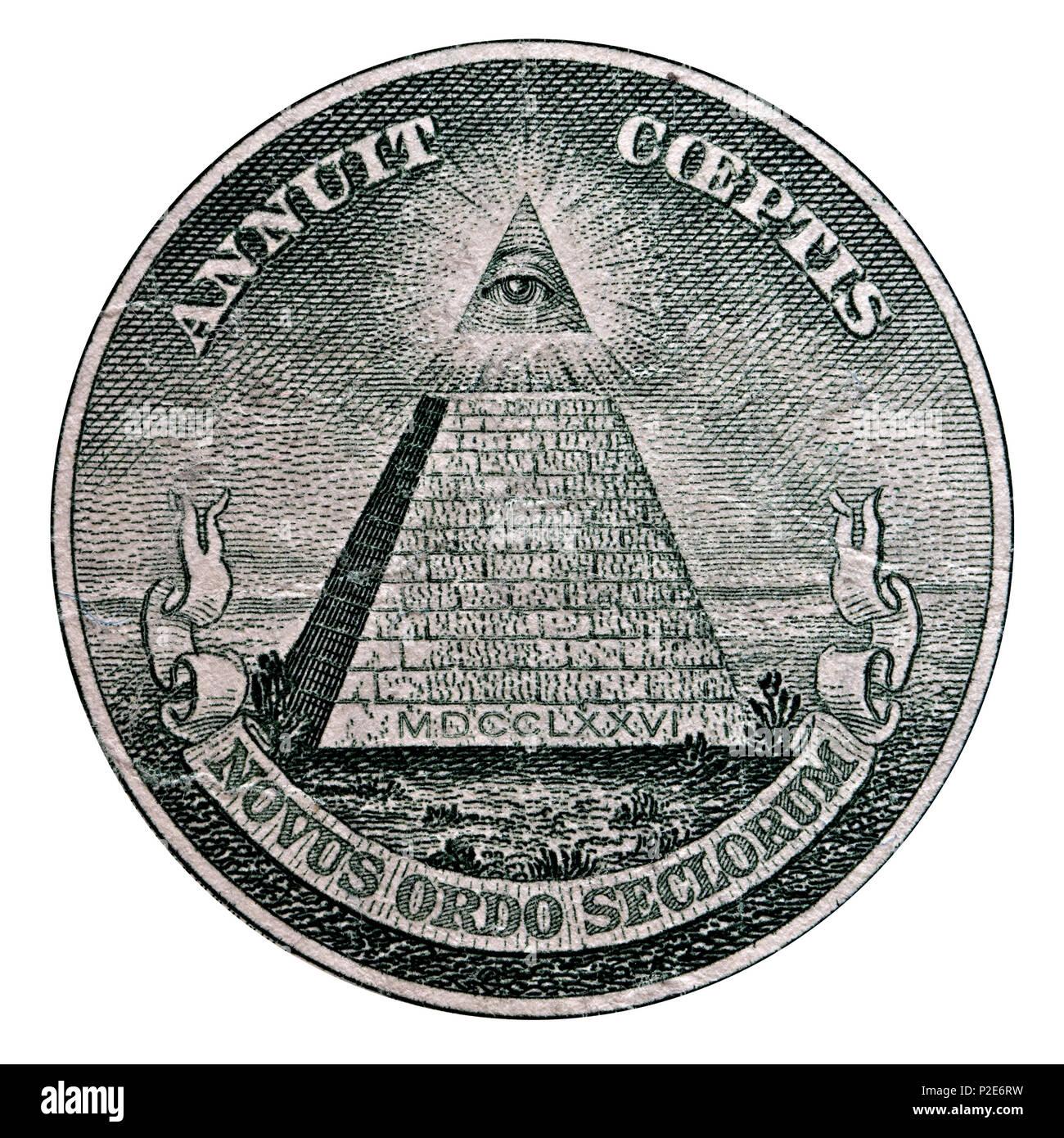Dettaglio Di Noi Un Dollaro Banconota Con La Frase Latina Novus