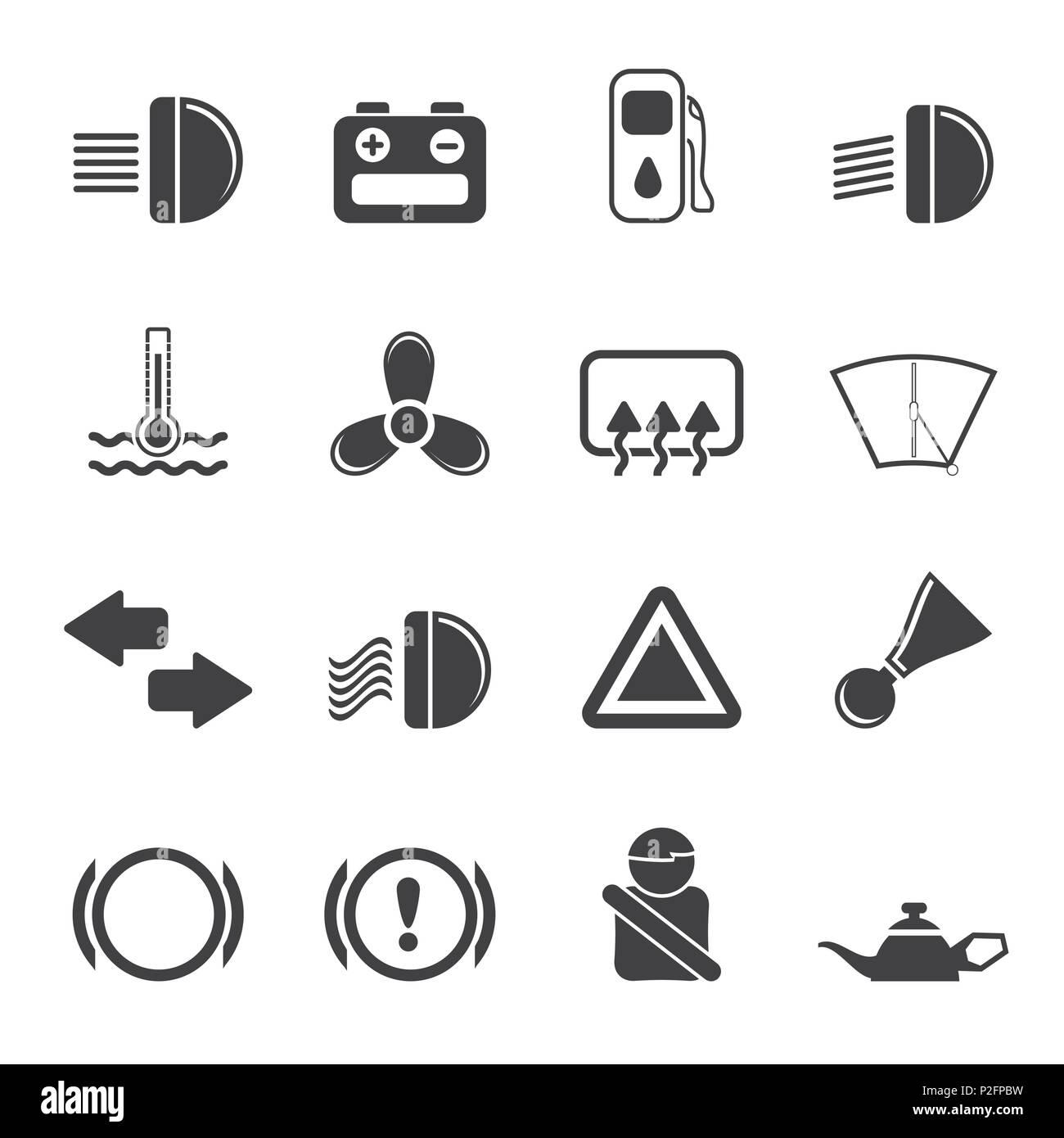 Silhouette cruscotto di automobile - vettore semplice set di icone Immagini Stock