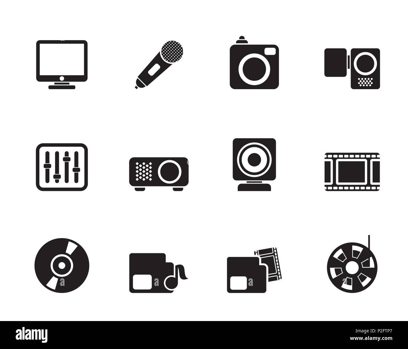 Silhouette apparecchiature multimediali icone - vettore icona impostare Immagini Stock