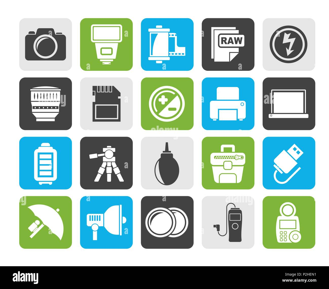 Silhouette attrezzatura fotografica e fotografia icone - Vettore icona impostare Immagini Stock