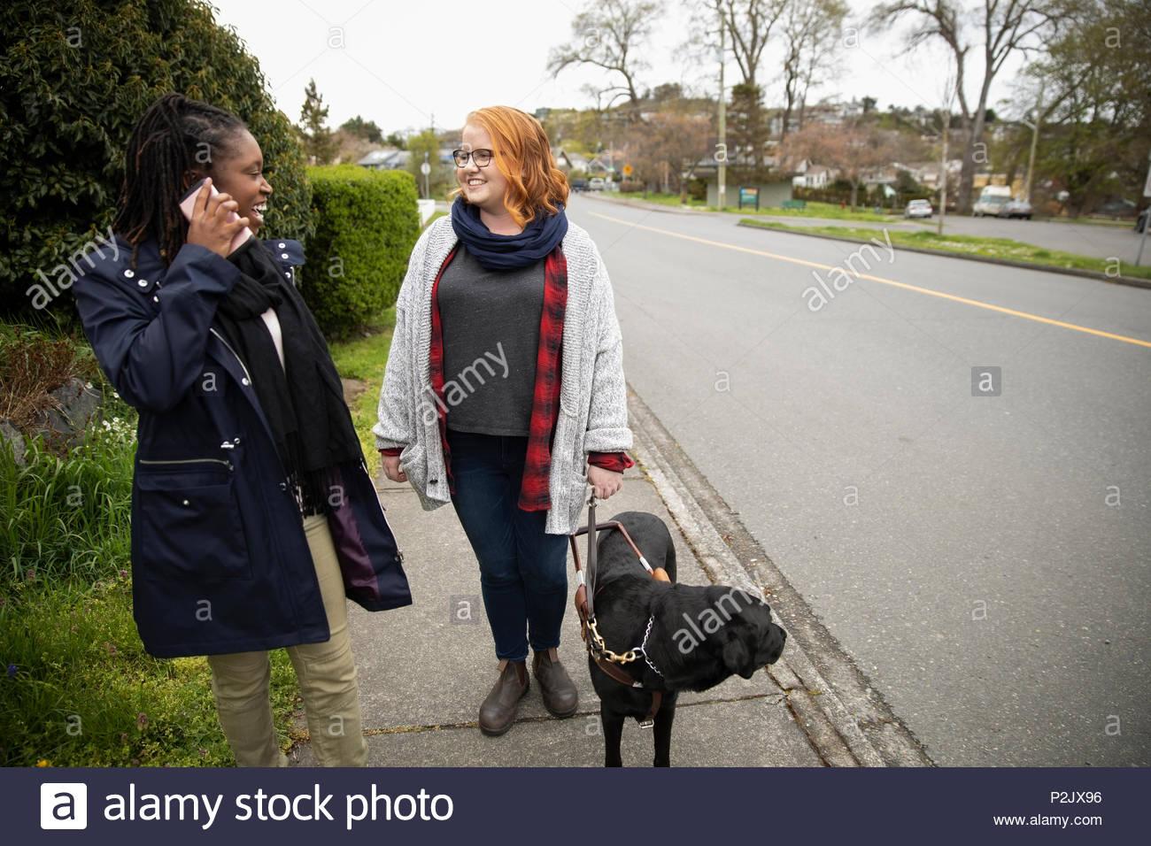 Ipovedenti donna con seeing eye dog parlando con un amico sul marciapiede Immagini Stock