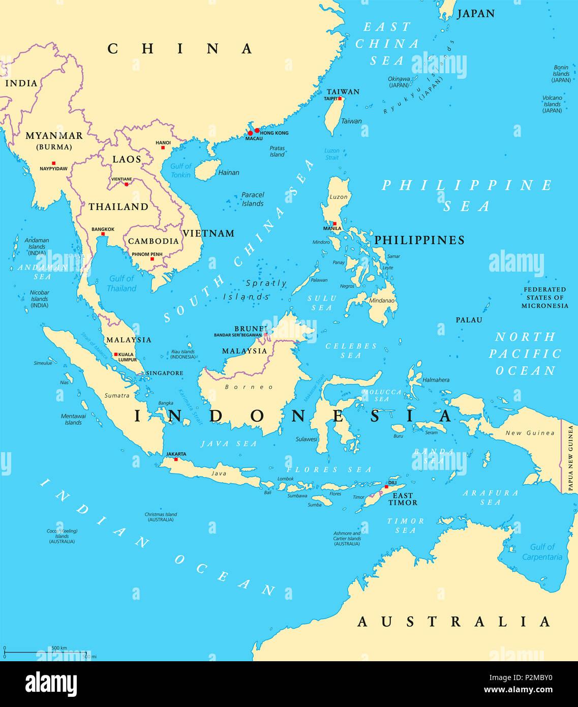 Asia Orientale Cartina Politica.Sud Est Asiatico Mappa Politico Con Capitelli E Frontiere