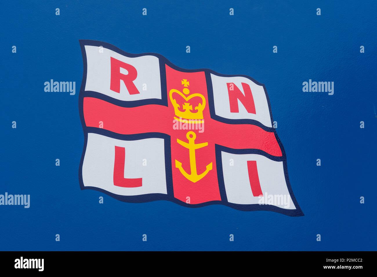 Logo della bandiera RNLI Foto Stock