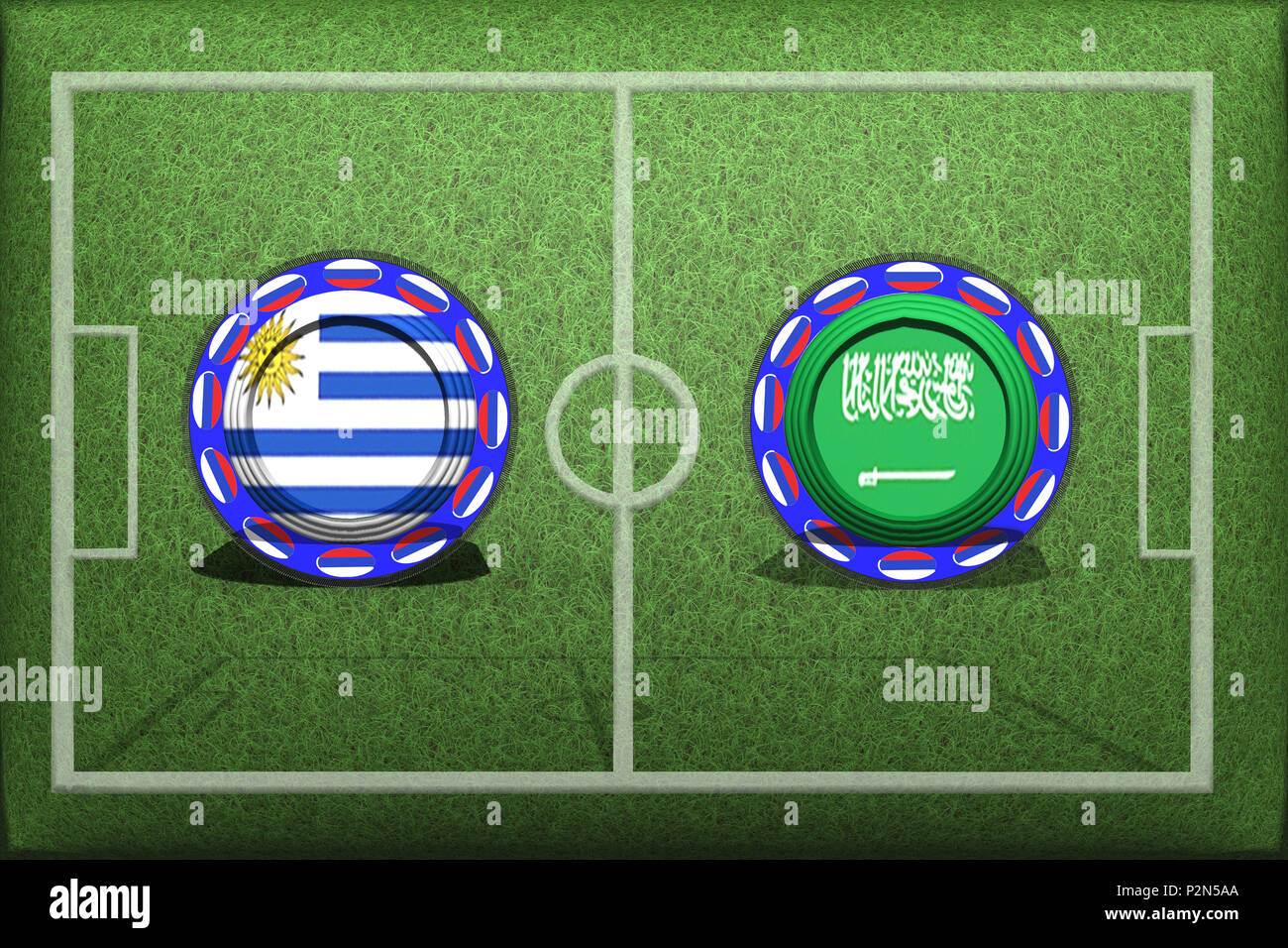 Lo screening e la sfocatura in modo desiderato la concorrenza di calcio tra squadre nazionali Uruguay Saudi Arabien Immagini Stock