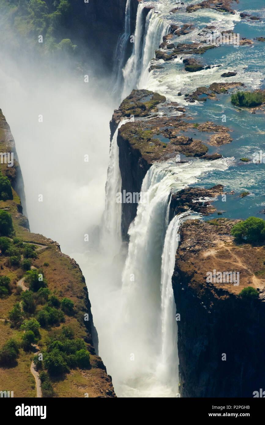 Vista aerea di Victoria Falls, Zimbabwe Immagini Stock