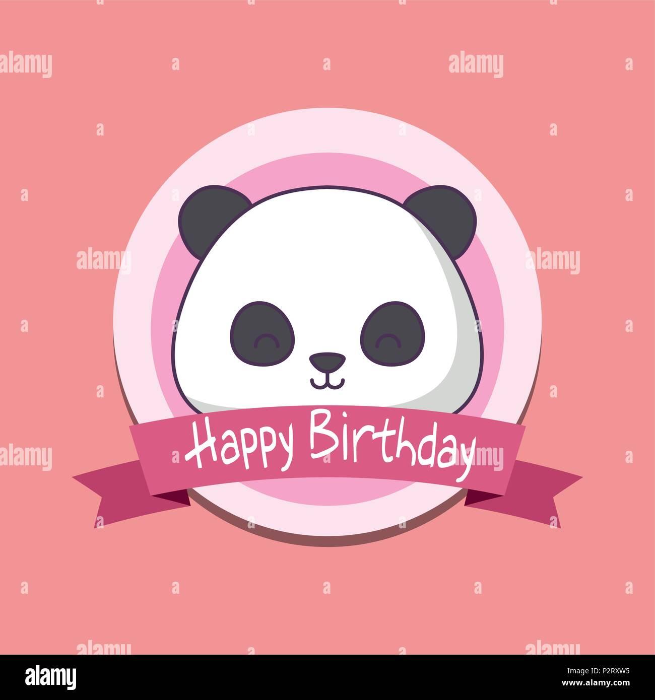 Biglietto Di Auguri Di Compleanno Con Il Simpatico Orso Panda Kawaii
