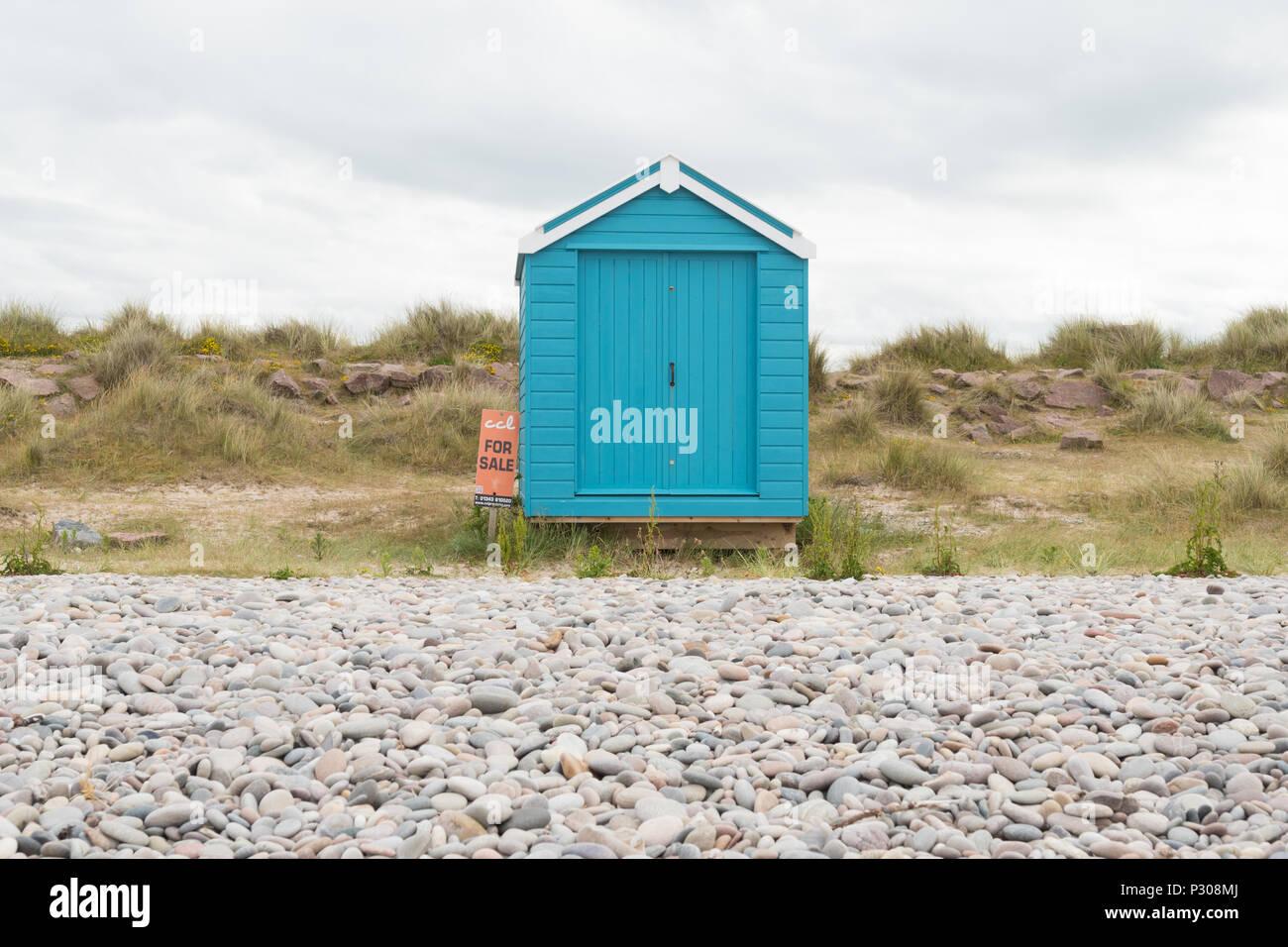 Beach Hut per vendita a Burghead baia vicino a Findhorn Moray Firth, Scotland, Regno Unito Immagini Stock