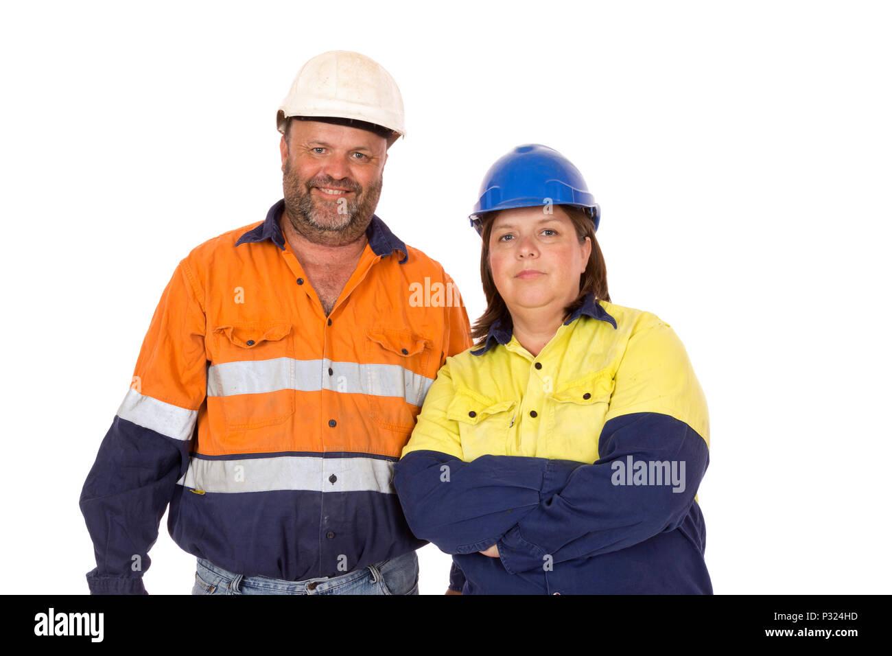 Un ritratto di un maschio e femmina insieme dei lavoratori. Immagini Stock