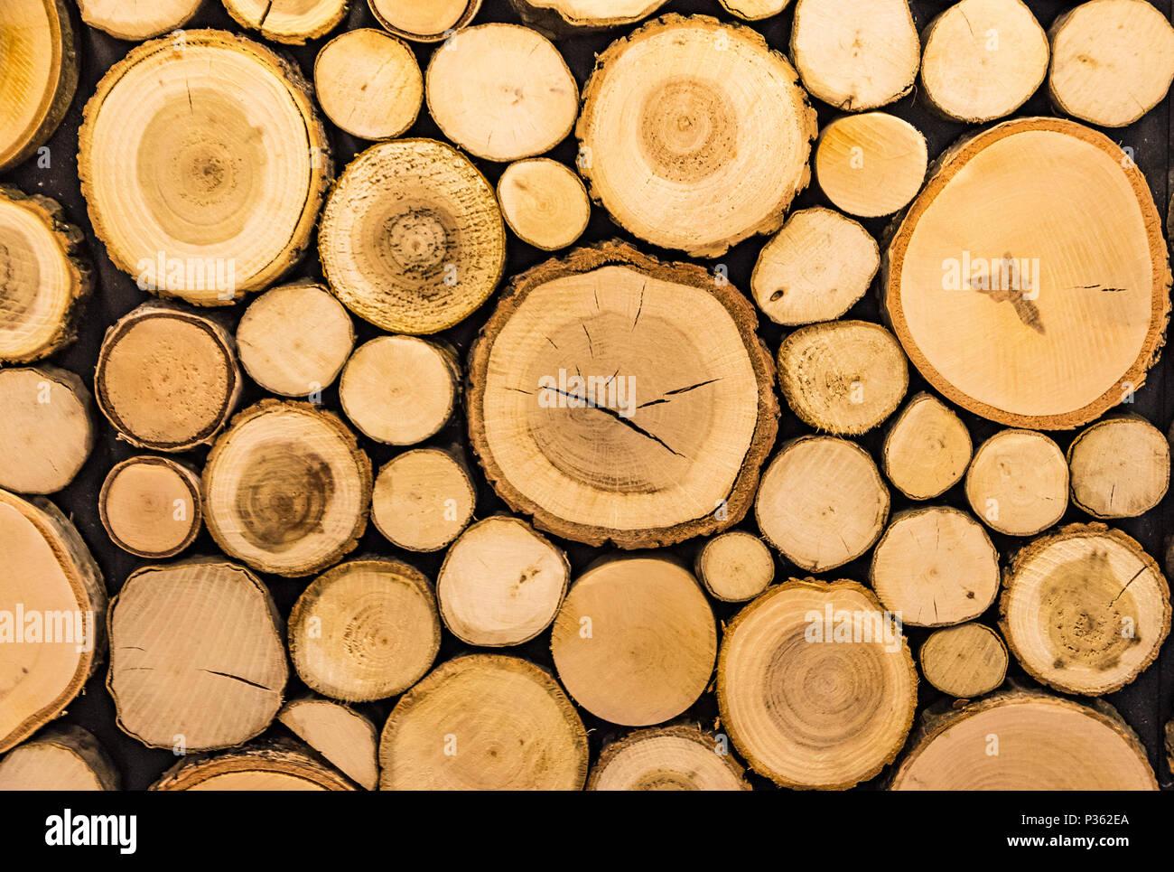 Parete in legno con pannelli decorativi. vista frontale. sfondo