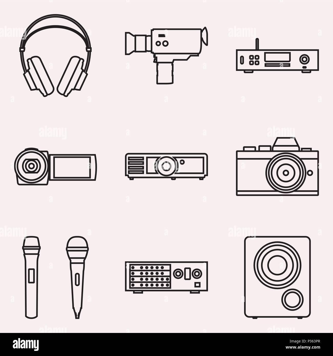Insieme di apparecchiature audio e video. Linea sottile vettore Immagini Stock