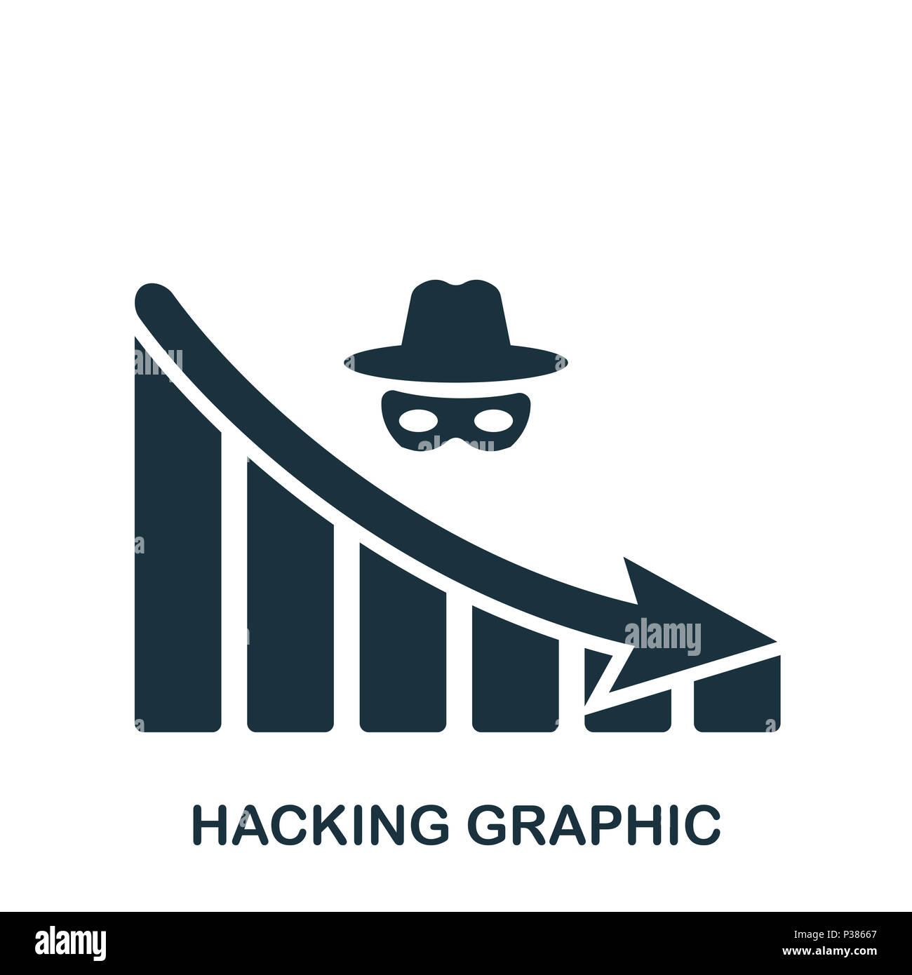 Diminuzione di hacking icona grafica. Mobile App, stampa, icona del sito web. Semplice elemento cantare. Hacking monocromatica diminuzione icona grafica illustrazione. Foto Stock