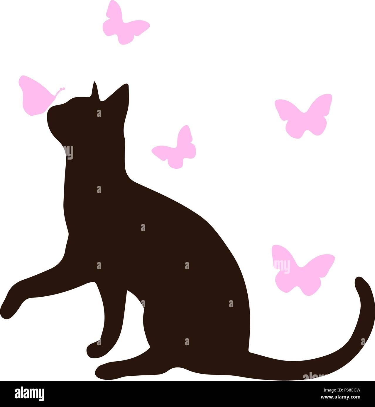 Silhouette Di Un Gatto Con Farfalle Di Rosa Illustrazione