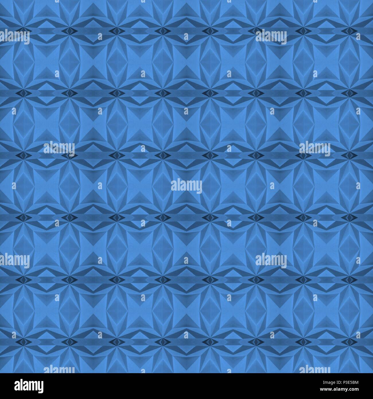 Blu (Little Boy Blue; Pantone 16-4132) senza cuciture e piastrelle in grado di disegno geometrico, realizzato a partire da una foto di origami. Immagini Stock