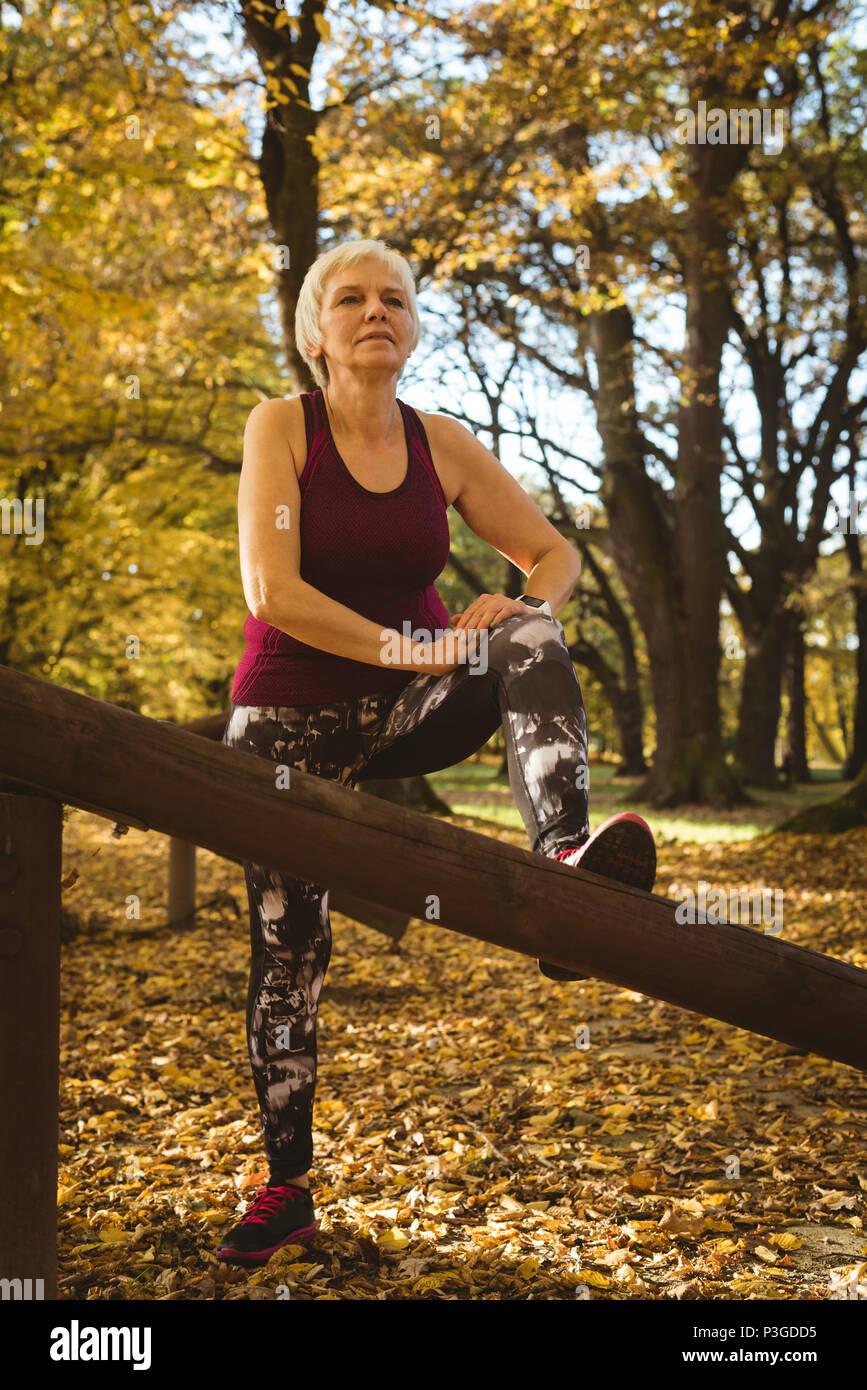 Senior donna pratica di esercizio nel parco Immagini Stock