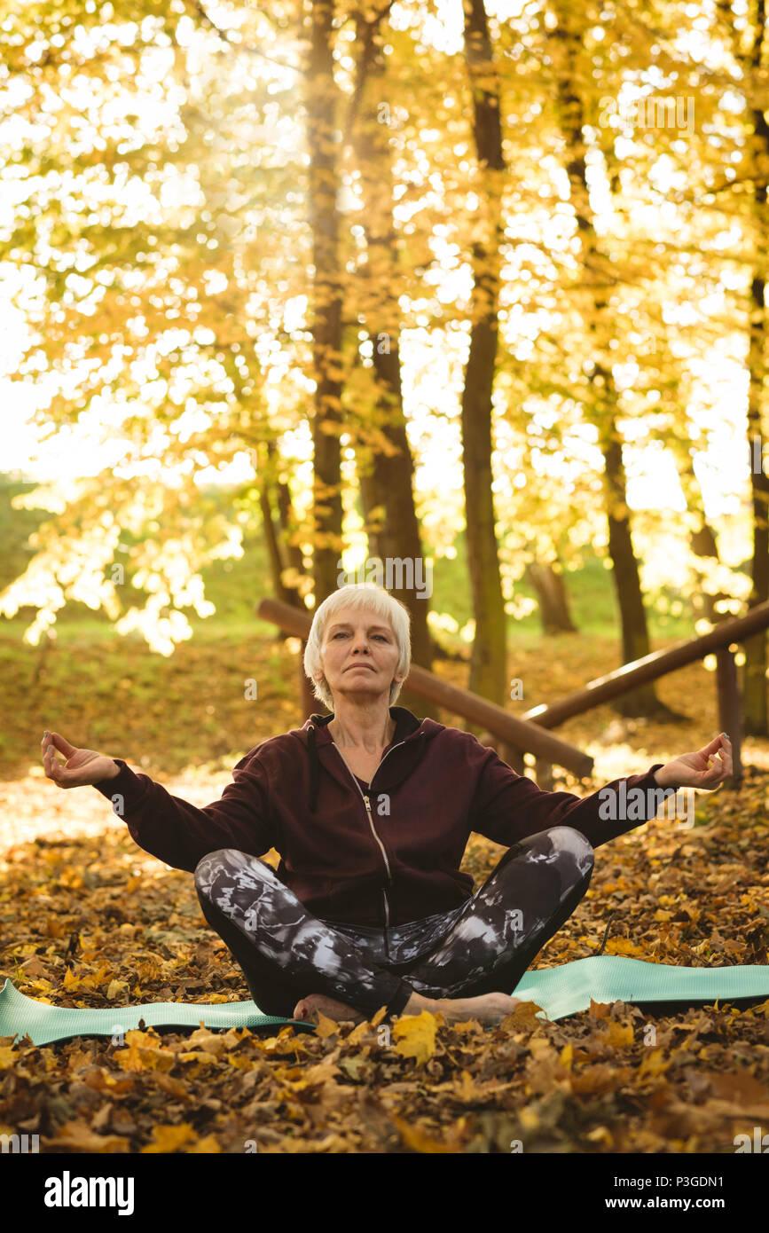 Senior donna a praticare yoga in un parco Immagini Stock