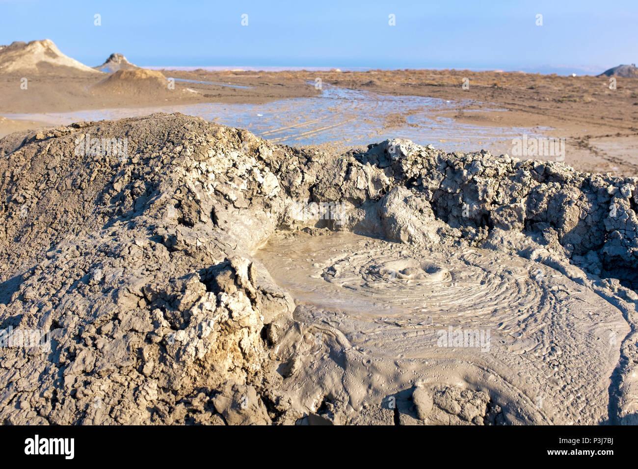 Vulcano di fango in Gobustan National Park, Azerbaigian Immagini Stock